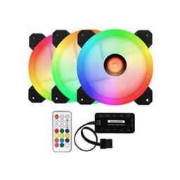 VENTILADORES HSI KIT 3 FANES LED RGB 120MM CON CONTROL REMOTO