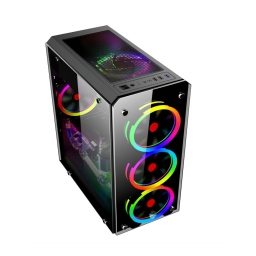 GABINETE GAMER SHOT GAMING 8416 ATX LED RGB VIDRIO TEMPLADO
